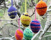 Easter egg ornaments in colorful crochet, bright jewel tone patterns, set of 6