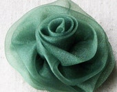Rose hair clip, emerald green organza fabric, medium