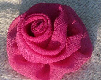 Pink rose hair clip - medium flower hair clip in soft fuchsia pink crinkle chiffon fabric