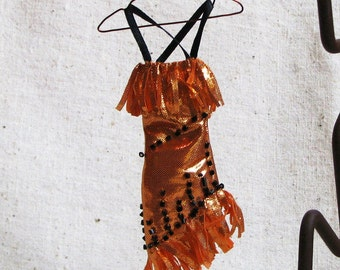 Miniature dress on copper hanger, handmade ornament in metallic orange fabric with black beads