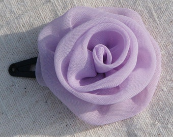 Fabric rose hair clip in  pale lilac chiffon, on snap style clip, small