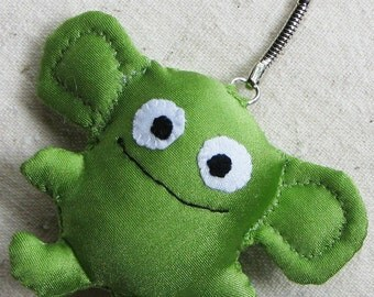 Beastie creature keychain - great stocking stuffer, soft little creature in pea green