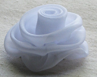 White rose hair clip, chiffon hair flower, medium