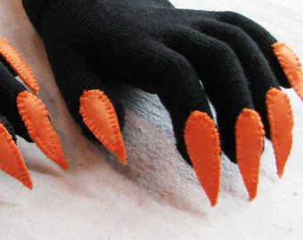 Halloween gloves with claws, black and orange, for Halloween costume or pretend play, one size stretch glove