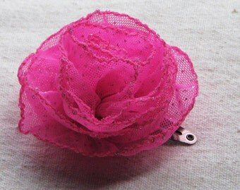 Pink rose hair clip, in candy pink and silver sparkly mesh fabric