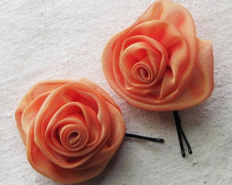 Rose bobby pins in tangerine orange shimmer chiffon, set of 2