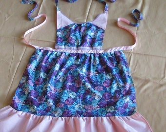 Ruffled apron, romantic country style in blue purple pink floral print, children's medium/large