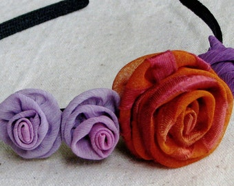 Flower headband with roses, in orange spice and lavender purple chiffon fabric, child size