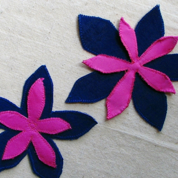 Flat flower applique set, tropical blooms in dark cobalt blue and hot pink fabric