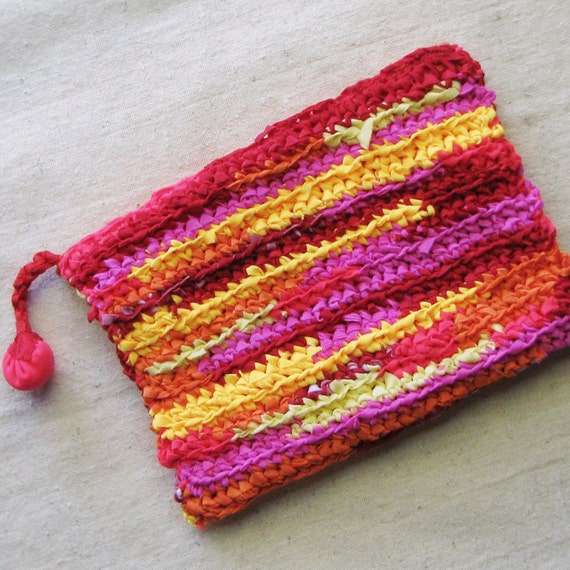 Zippered pouch crocheted in sunset stripes from colorful eco-friendly ...