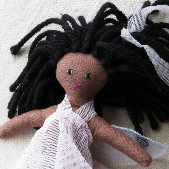 African American fairy doll - small doll with light chocolate brown skin in a sparkly pale pink dress, 6 inch