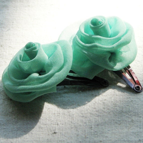 Rose hair clips,  in mint green chiffon, set of 2 small hair flowers