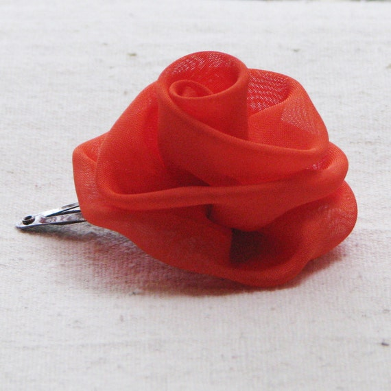 Rose hair clip, in bright persimmon orange fabric, small