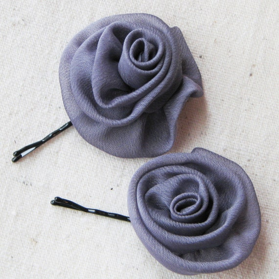 Rose bobby pins hair accessories, in dusky gray chiffon with a hint of purple, sophisticated shabby chic, set of 2 small hair flowers