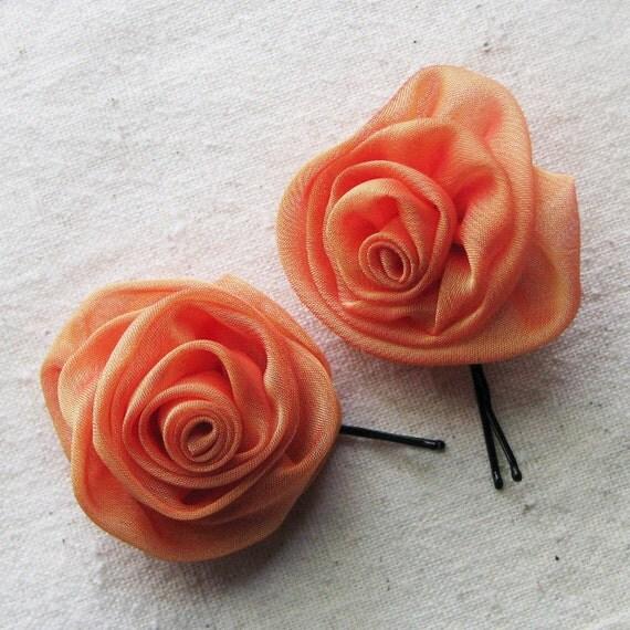 Rose bobby pins in tangerine orange shimmer chiffon, set of 2