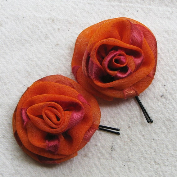 Rose bobby pins in burnt orange chiffon with streaks of maroon, set of 2