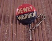 Tie Tack Vintage Dewey Political Campaign Button - Free Shipping to USA