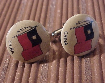 CLOSEOUT Cuff Links Vintage Pinback Button China Flag - Free Shipping to USA