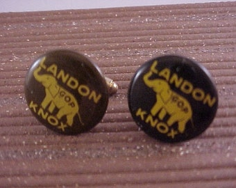 Landon Knox GOP Vintage Political Button Cuff Links - Free Shipping to USA