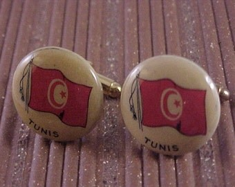 CLOSEOUT Novelty Cuff Links Vintage Tunis Flag - Free Shipping to USA