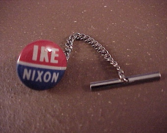 Tie Tack Ike Nixon Vintage Political Campaign Pin - Free Shipping to USA