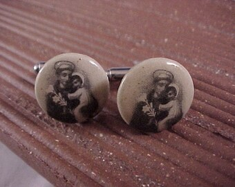 SALE Cuff Links - Vintage Religious Pinback Buttons Black And White - Free Shipping to USA