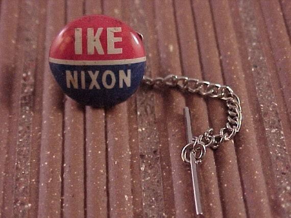 Tie Tack - Vintage Ike Nixon Political Campaign Button - Free Shipping to USA