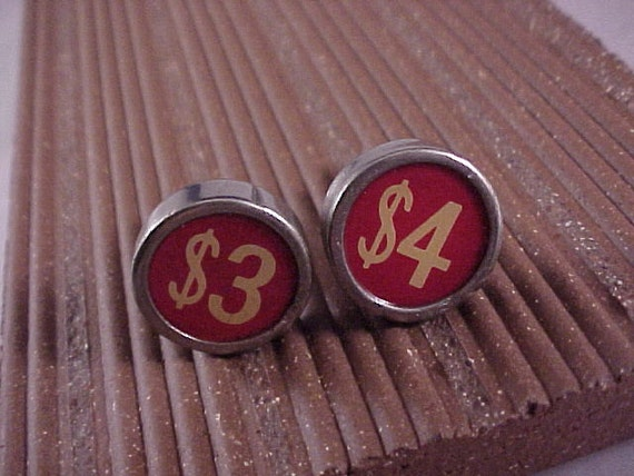 Cuff Links Vintage Red Cash Register Keys - Free Shipping to USA