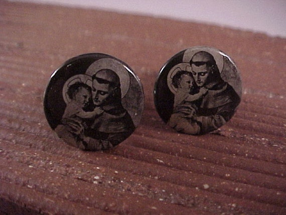 Cuff Links - Vintage Religious Pinback Buttons Black And White