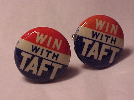 Cuff Links Vintage Campaign Pin Win With Taft - Free Shipping to USA