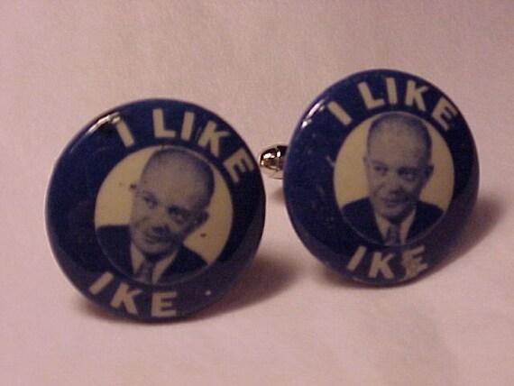Cuff Links I Like Ike Political Campaign Pins