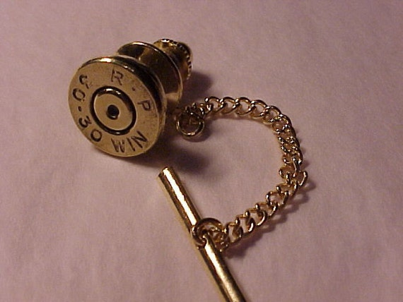 Bullet Tie Tack 30-30 Winchester Rifle Shell Recycled, Repurposed