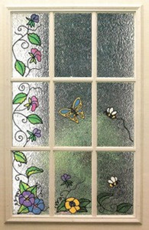 Butterfly floral faux stained glass window film panels for Make your own stained glass window film