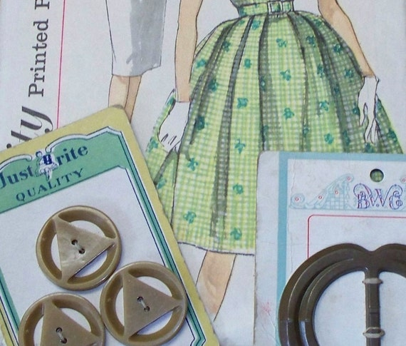 Vintage BUTTONS, belt BUCKLE and dress PATTERN.