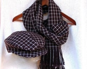 Long Scarf and  Driver/Ivy  Hat - Unisex - Hand Woven Zegna Baruffa Extrafine Wool Yarn