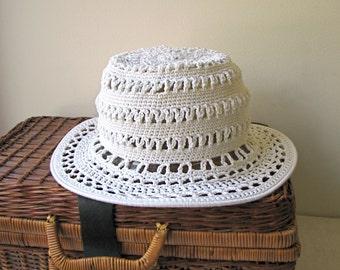 Crochet Sun Cloche/Bucket Hat - Wide Brim -  Butterfly Mercerized Cotton
