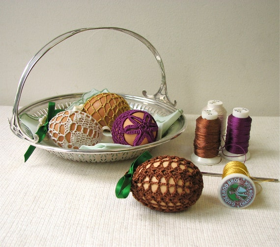 4 Colorful Silk Crochet Easter Eggs Covers - Reusable