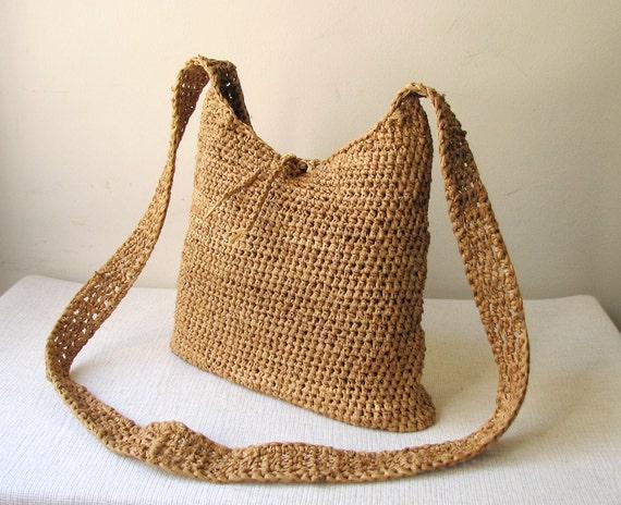 Hand Crochet Natural  Raffia Shoulder Bag / Tote Bag - For Spring / Summer 2012