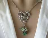 Silver Leaf and Swallow Necklace with Flowers - Wear A Garden