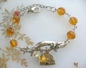 Honey Bee on Twig Bracelet in Silver