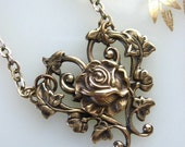 Heart and Rose Necklace, Bronze Filigree Necklace, Leaf Necklace, Leaf Jewelry, Heart Necklace, Roses, Hearts