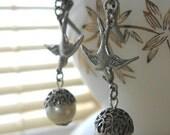 Bird, Earrings, Acorn Earrings, Pearl Earrings,Silver Bird Earring,Swallow Earring, Pearl Acorn, Dangle Earrings, Acorn Jewelry Bird Jewelry