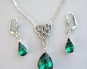 Celtic Knot Necklace, Celtic Jewelry, Keltic, Irish Jewelry, Rhinestone Necklace, Antique Necklace, Necklace Set, Irish Weddings Jewelry