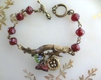 Swallow Bracelet, Bird Nest Jewelry, July Birthstone, Twig Jewelry, Love Birds, Natural Jewelry, Red Ruby Bracelet, New Baby, Romantic Gift