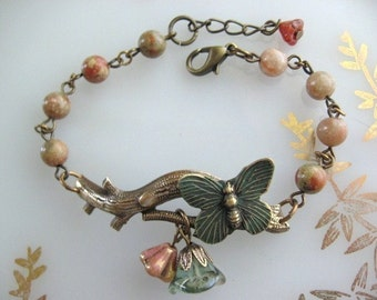 Bronze Branch Bracelet with Butterfly, Butterfly Jewelry, Branch Bracelet, Butterfly Bracelet, Stone Beads