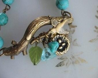 Love Nest, Swallow Bracelet, Turquoise Bracelet, Gift for Her, Branch Bracelet, Twig Bracelet, Baby Shower, Expectant Mom, Gift for Mom