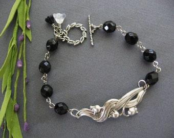 Lily of the Valley, Bracelet, Beaded Bracelet, Black Bracelet, Lily of the Valley Jewelry, Black Jewelry, Silver Bracelet, Antique Bracelet