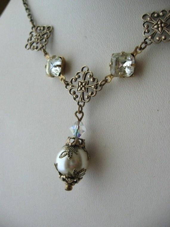 Lisette - Brilliant Rhinestone and Pearl Necklace