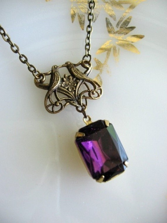 Free Shipping - Vintage Love Birds and Purple Amethyst Rhinestone Necklace