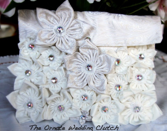 SALE Unique Gorgeous, One of a kind, Clutch Bag with ornate handmade flowers, Chic Bridal Gift, Wedding Clutch